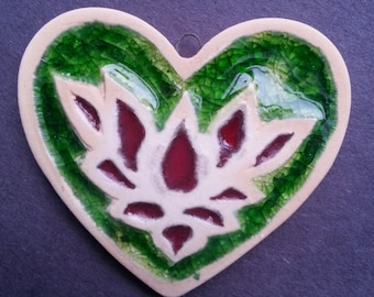 Red and Green lotus Ceramic and recycled glass Heart Ornament pendant