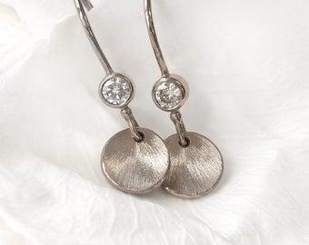 Moissanite Petal Earrings in 18ct Gold   Handmade in the UK   Eco Friendly