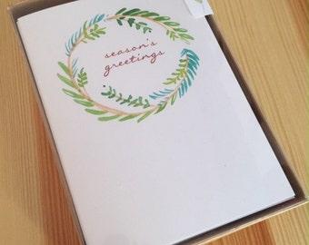 Season's Greetings Holiday Cards - Watercolor Wreath - Holiday Pine Wreath - Holiday Watercolor Cards - Christmas Cards - Box of 6