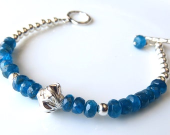 Apatite Silver Bracelet, Bright Blue Beaded Gemstone Jewelry, Delicate Fashion Bracelet, Gift for Her, Sterling Silver and Apatite