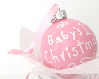 Baby First Christmas Ornament - 2.5 Inch Pink Glass Christmas Ball Hand Painted Inside and Out  - Baby Girl Shower Gift