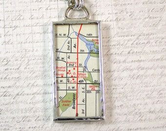 Rochester Minnesota Map Pendant Necklace