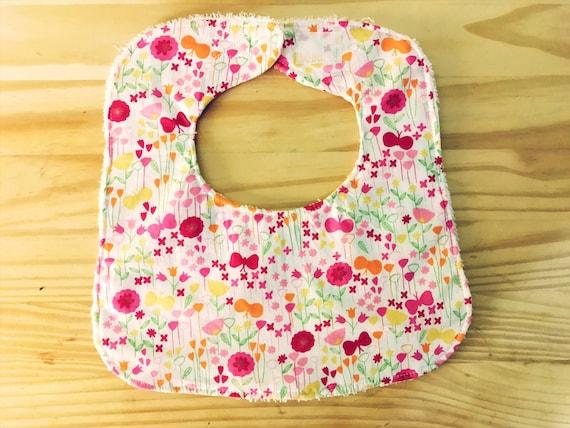 Garden Flowers Baby Girl Bib, Baby Shower Gift, Drool Bib, Infant Bib, Handmade Bib