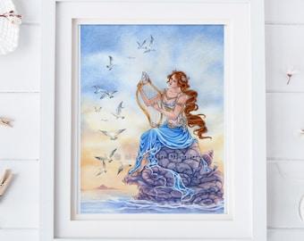 Mermaid art, siren, watercolor art print, ocean art, harp, pre-raphaelite, 8x10 by Meredith Dillman