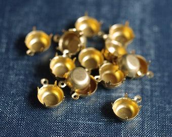 45ss 10mm Round Single Loop Brass Rhinestone Prong Settings - 24pcs - 10mm Circle Jewel Setting Raw Brass Round 45ss Prong Settings
