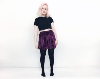 Velvet skirt mini short skater skirt crushed velvet 12 colours elasticated waist grunge clothing hippie style festival