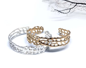 Sea fan cuff in sterling and bronze - thin band