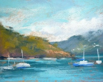 Caribbean Harbor Seascape Sailboats ART Original Pastel Painting sailboats