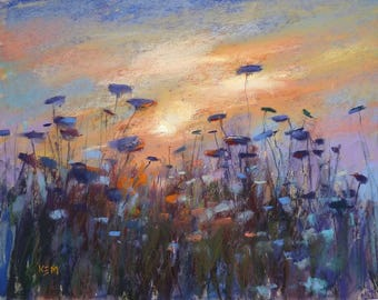 Queen Annes Lace SUNSET  Original Pastel Painting Karen Margulis