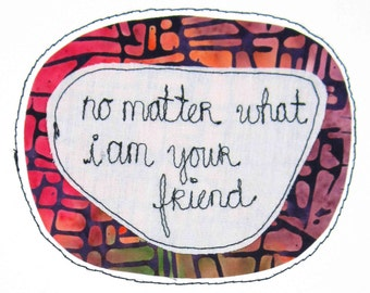 Greeting Card Blank Stitched Text Sewn Thread I Like You Friendship Relationships Good Best Friends Forever Pink Orange Purple Bright Always