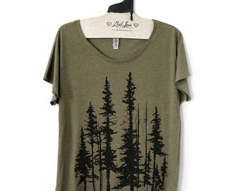 Small-  Tri-Blend Olive Dolman Tee with Evergreen Trees Screen Print-