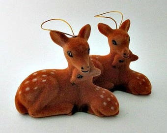 2 Flocked Deer and Fawn Ornaments Decor - Vintage Supply