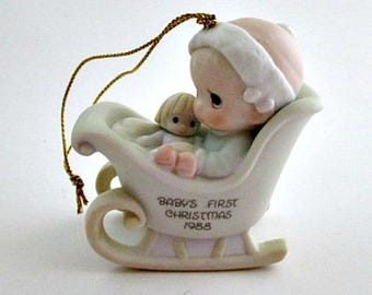 1988 Precious Moments Baby's First Christmas Ornament Figurine - Precious Moments Ornament Gift