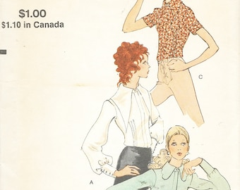 Vogue 7965 - Vintage 1970s FITTED BLOUSE with 6 Sleeve & Collar Options - Sewing Pattern - Size 12 - 34 Bust