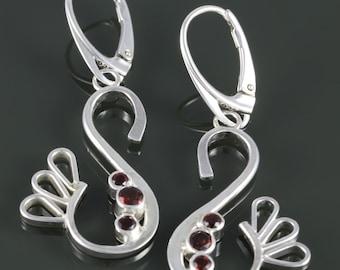 Large Abstract Garnet Earrings. Sterling Silver. Lever Back Ear Wires. Genuine Gemstone. January Birthstone. Red Garnet. f16e223