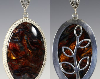 Reversible Pietersite Pendant. Sterling Silver Necklace. Genuine Gemstone. Leafy Design. Bezel Setting. One of a Kind. f15p001