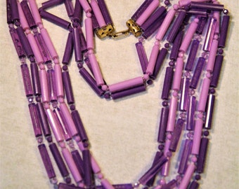 Vintage Long Faceted Purple Plastic Tube Bead Necklace