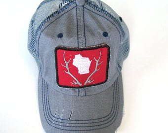 Distressed Trucker Hats - Wisconsin Patch State in Antlers on Light Gray hat