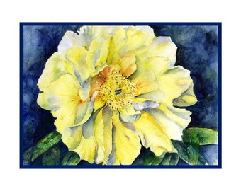 Watercolor Yellow Peony Notecards, Note Cards, Yellow Peonies, Peony Lovers, Stocking Stuffers, Gift Box, Yellow Peony Prints