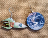 Reserved Listing Earth and Rocketship Earrings