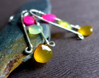 Hot Pink Yellow Chalcedony Briolette Earrings, Hot Summer Colors Gemstone Earrings, Long Sterling Silver Teardrop Colorful Earrings