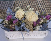 Dried floral arrangement, dried flower basket, country decor, french country, lace and embellishments