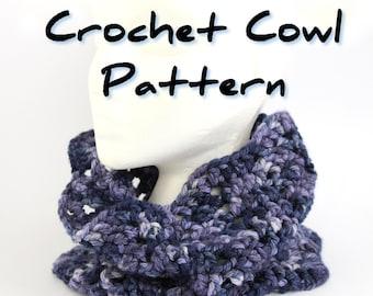 Crochet cowl pattern pdf, chevron zig zag bulky pull on scarf, easy crochet unisex wave scarf pattern, one skein, ripple stitch