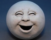 Reserved for Christina: laughing/singing Moon, antique white