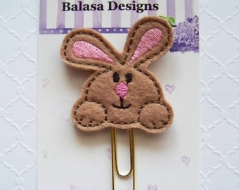 Brown Bunny Easter Planner Clip, Bookmark, Planner Accessory, Paper Clip