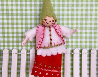 Valentine Pixie Art Doll Ornament OOAK