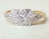 Striking Geometirc Art Deco Ring, Vintage 18k Gold, Platinum and Diamond Engagement Ring, Approx Size 4.25