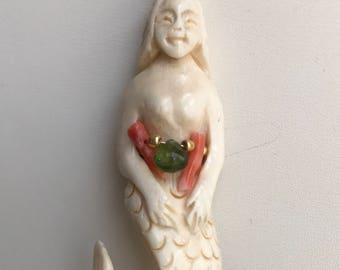 Mermaid necklace. Pink coral, white pearls, tourmaline. Carved ox bone pendant .