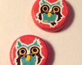 2 Owl Handpainted Handmade Porcelain Ceramic Buttons