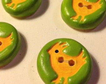 Chicken Ceramic Buttons set of Four