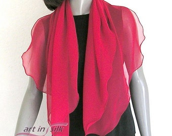 """Red Chiffon Scarf, True Red Sheer, Fire Engine Red, Pure Mulberry Silk, Petite Coverup, True Lipstick Red, Small S 19 x 43"""", Shoulder Scarf."""