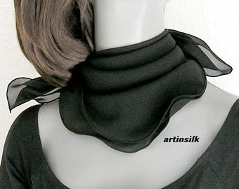 Black Small Scarf, Chiffon Black Square Handkerchief Neck Scarf, 21x21 22x22 23x23 24x24, Solid Black Scarflette Artisan Handmade, Artinsilk