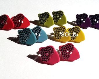 Acorn Button Earrings Red/Pink/Green/Blue/Purple