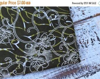 SALE- Green Floral Fabric-Summertime Dress Fabric-Olive Green-Lightweight Blend