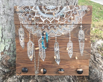 Reclaimed Wood Jewelry Holder Board Boho Mandala Art Dream Catcher Design by Carol Iyer