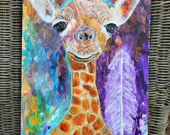 Intuitive Art Baby Giraffe Modern Intuitive Painting Nursery Art Unique Giraffe Art by Carol Iyer