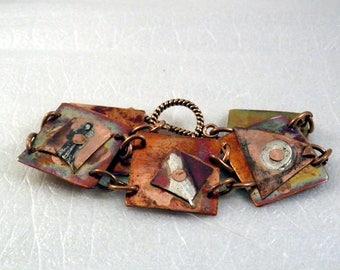 Copper Link Bracelet Hand Forged Sterling BoHo Steam Punk