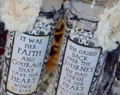 BREATHE FAITH COURAGE CaNDLE SeT Of TWo altered collage art therapy hope ptsd recovery journey quiet time inspirational