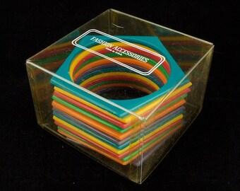 Retro Rainbow Pentagon Bangle Mix (12 Pcs) #BAN025