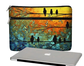 MadArt 13 inch Laptop Sleeve /  Macbook Pro 13 Case / 13 Macbook Air Bag /  Macbook Pro Retina Case / Zipper Pocket Birds of a Feather RTS