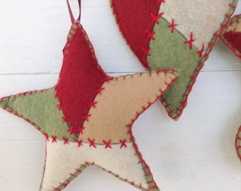 felt ornament set,  3 pc set, star ornament, heart ornament, stocking ornament, patchwork ornaments, handstitched ornaments, ready to ship