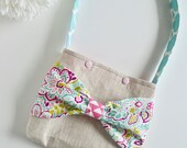 Little Girls Purse - RESERVED for alyssademint - Girls Linen Purse - Little Girls Easter Bag - Bag with Bow - Girls Purse