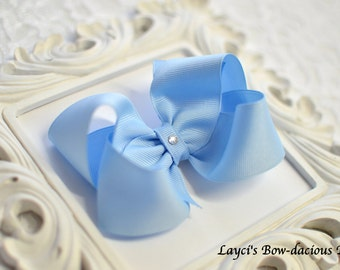 Millennium Blue Boutique Hair Bow, 4 sizes, small, medium, large, extra large - baby girl bows - toddler bows - girls bows - no slip bows