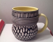 Stylish Porcelain Mug YELLOW black white