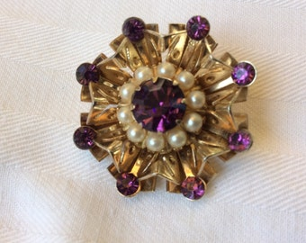 Vintage Coro Goldtone & purple rhinestone brooch