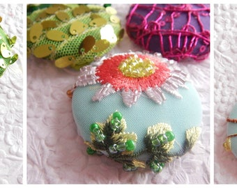 SPRING COLLECTION - Green purple aqua  sequinned embroidered fabric buttons,  1 7/8 inches, 4.7 cm, 48.26 mm, size 75 buttons, 3 sets